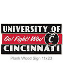University of Cincinnati 11.25 in. x 23 in. Plank Wood Sign