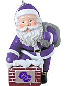Curry College 3 in. Rooftop Santa Ornament