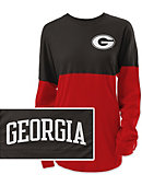 1511E University of Georgia Colorblock Ra Ra Long Sleeve Tee