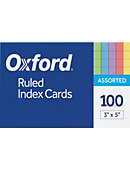 Index Card 3' x 5' 100 Count Ruled Asst