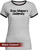 Texas Woman's University  Women's Athletic Fit Ringer Short Sleeve T-Shirt
