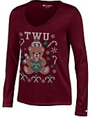 Texas Woman's University  Women's University V-Neck Ugly Sweater Long Sleeve T-Shirt