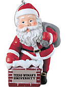 Texas Woman's University  3 in. Rooftop Santa Ornament