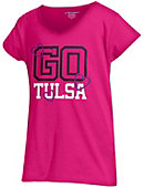 University of Tulsa Girls' V-Neck Powder Puff T-Shirt