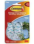 Command(TM) Clear Medium Hooks, 2 Hooks, 4 Strips