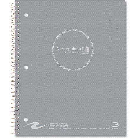 Product: Metropolitan State University 120 Sheet Three-Subject Notebook