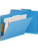 Smead Classification File Folders,2/5 Cut,Letter,1 Divider,10/BX,Blue - ONLINE ONLY