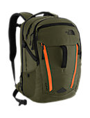 The North Face Surge Backpack - Forest Night Green  /  Acrylic Orange