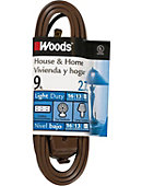 Woods 9-Feet Cube Extension Cord with Power Tap, Brown