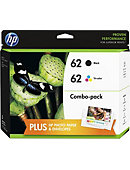 HP 62 Black and Tricolor Ink Cartridges w/Photo Value Kit