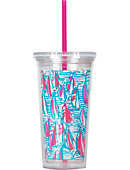 Lilly Pulitzer 16 OZ TUMBLER W STRAW RED RIGHT RETURN