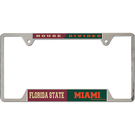 product florida state university house divided license plate frame