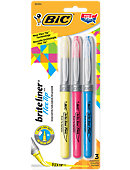 BIC Brite Liner Flex Tip Highlighters 3 pack Assorted