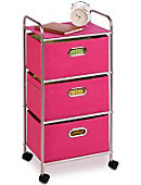 3 Drawer Rolling Fabric Cart Pink - ONLINE ONLY