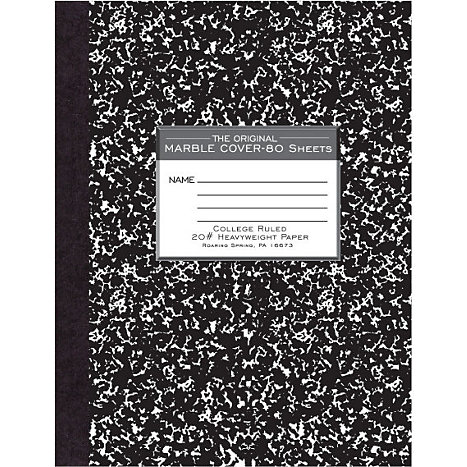 Product: COMPOSITION BOOK 80SH 10x7-7/8 HARD COVER COLLEGE RULED