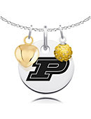 Purdue University Necklace Cluster with Heart