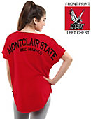 Montclair State University Red Hawks Women's Short Sleeve Cut-Off T-Shirt
