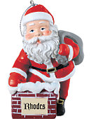 Rhodes College 3 in. Rooftop Santa Ornament