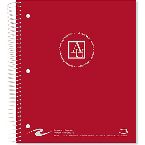 Product: American University 120 Sheet 3 Subject Notebook