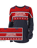 American University Women's Long Sleeve Ugly Sweater Ra Ra Shirt
