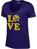Hardin-Simmons University Love Football Women's V-Neck T-Shirt
