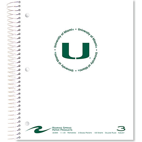 Product: University of Miami 120 Sheet 3 Subject Notebook