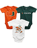University of Miami Infant Bodysuit 3-Pack