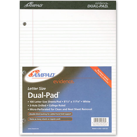Product: LEGAL PAD 100 SHEET DUAL/WHITE