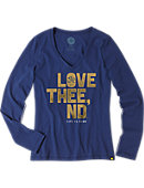 University of Notre Dame Women's V-Neck Long Sleeve T-Shirt