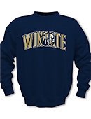 Navy Crewneck With Wingate Twill And Bulldog Head In Wingate