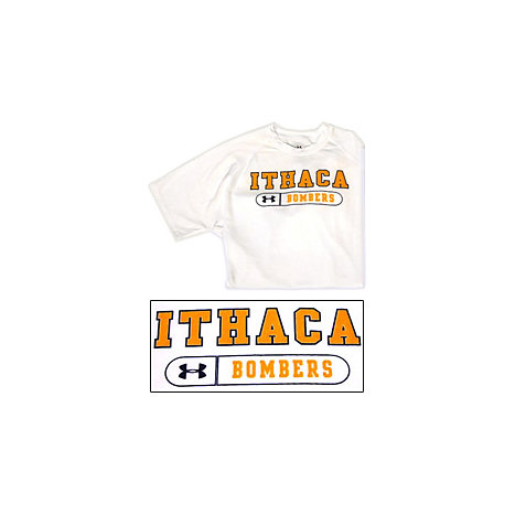 White short sleeve tech t shirt ithaca college for Ithaca t shirt printing