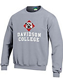 Youth Heather Crew Fleece With Cat Over Davidson College