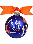 University of Florida 'Gator Bait' Glass Ornament