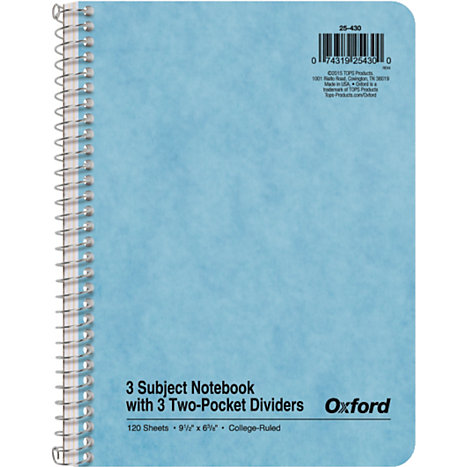 Product: Notebook 3 Subject 9.5x6-3/8