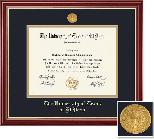 university of texas el paso 8 5 x 11 regal diploma frame