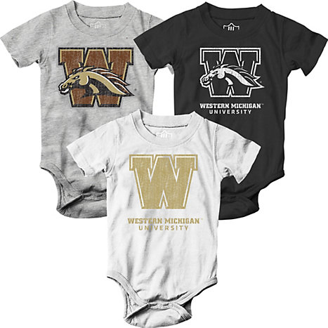 Western Michigan University Infant 3 Pack Body Suit Western