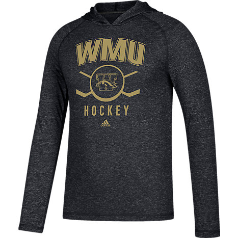 adidas Western Michigan University Broncos Hockey Long Sleeve Hooded T-Shirt  Extended Sizes e0b2c8a6ad3