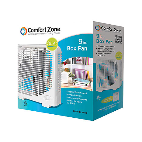 Comfort Zone Three-Speed Portable Box Fan 9 inch White  sc 1 st  eFollett & Comfort Zone Three-Speed Portable Box Fan 9 inch White | The ... Aboutintivar.Com