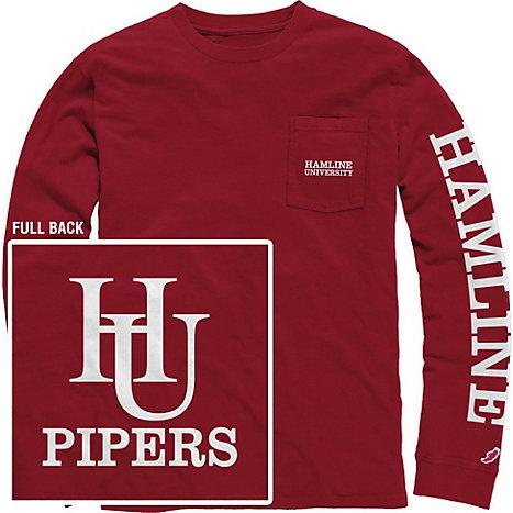 f106dc9f011 Product  Hamline University Vintage Washed Long Sleeve Pocket T-Shirt