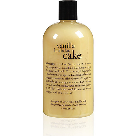 Product Philosophy Vanilla Birthday Cake Shampoo Shower Gel Bubble Bath 16oz