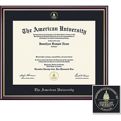 American University 11\'\' x 14\'\' Value Price Academic Diploma Frame ...
