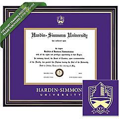 Hardin-Simmons University Double Diploma Display Frame HSU Campus Fisheye Photo Two School Major Certificate Emboss Diploma Frame Holder