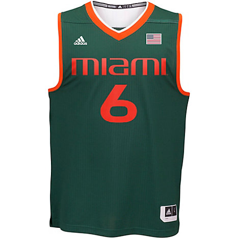 29c25500126 adidas University of Miami  6 Basketball Jersey Extended Sizes