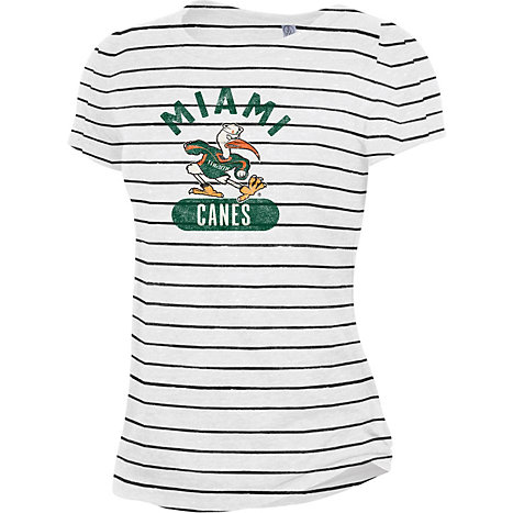 Product  University of Miami Women s Ideal Striped Eco-Jersey T-Shirt 078657a258