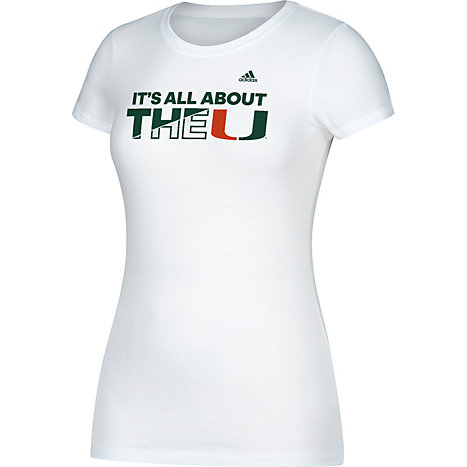 adidas University of Miami Hurricanes It s All About the U Women s Cap  Sleeve T-Shirt 1bffb76179