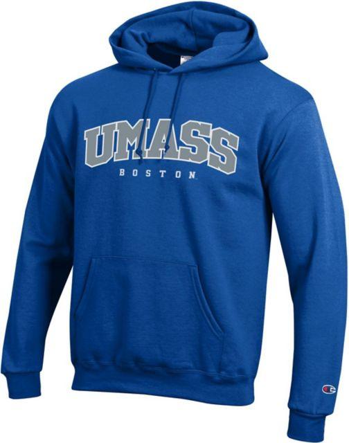 UMass Boston Youth Grey Fleece Hood Primary Logo