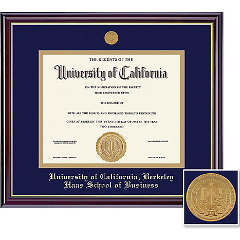 Uc berkeley grad windsor gold diploma frame haas school of for Uc berkeley business cards
