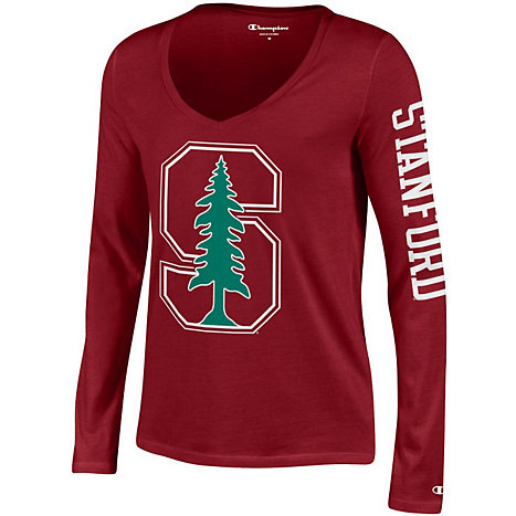 Stanford university cardinal women 39 s long sleeve v neck t for Stanford long sleeve t shirt