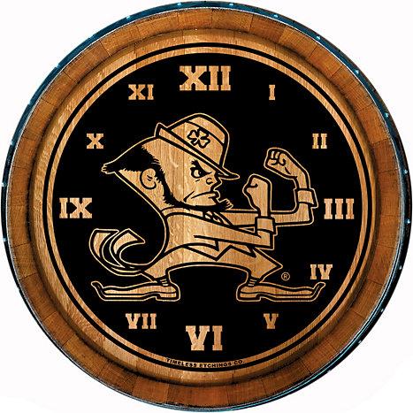 timeless etchings wine barrel clock f1831h university of notre dame