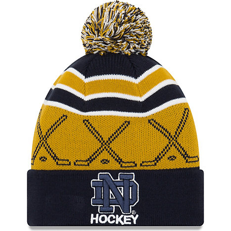 new style 592e7 c6d02 germany new era university of notre dame cuff pom knit hat 30354 98619